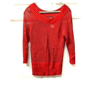 THE LIMITED Red Knit open weave sweater